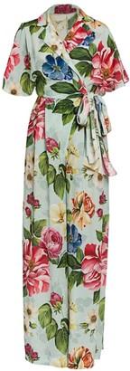 Dolce & Gabbana Crepe de Chine Floral-Print Belted Jumpsuit