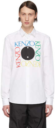 Kenzo White Square Logo Slim-Fit Shirt