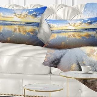 Design Art Designart 'Blue Sky and Clouds Mirrored in Sea' Seashore Throw Pillow