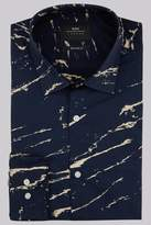Moss Bros Extra Slim Fit Navy Single Cuff Marble Print Shirt