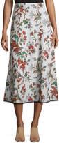 McQ Fluid Floral-Print Midi Skirt, Multipattern
