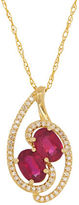 Lord & Taylor Diamonds, Ruby and 14k Yellow Gold Pendant Necklace