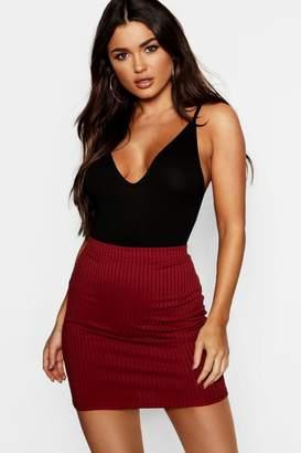 boohoo Basic Jumbo Rib Mini Skirt