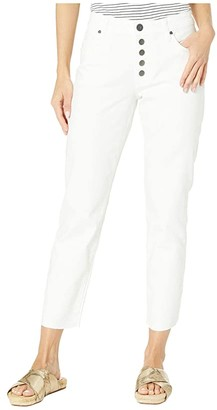 KUT from the Kloth Reese High-Rise Ankle Straight Exposed Button Front in Optic White (Optic White) Women's Jeans