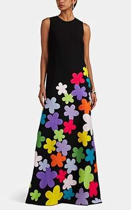Lisa Perry Women's Fleurty Floral-Appliquéd Gown - Black
