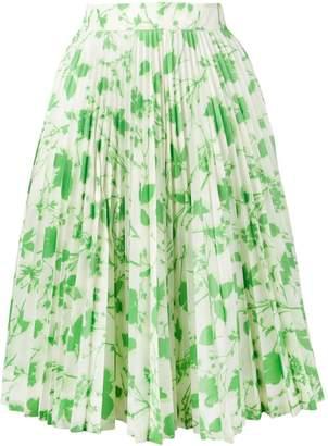 Calvin Klein leaf print pleated skirt