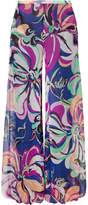 Emilio Pucci Aruba Printed Silk-georgette Wide-leg Pants - Navy