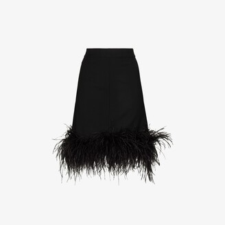 Taller Marmo Virna feather trim wool skirt