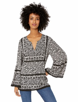Chaus Women's Bell Sleeve Woodblock Paisley Blouse