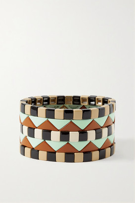 Roxanne Assoulin Terrazzo Set Of Five Enamel And Gold-plated Bracelets - Black