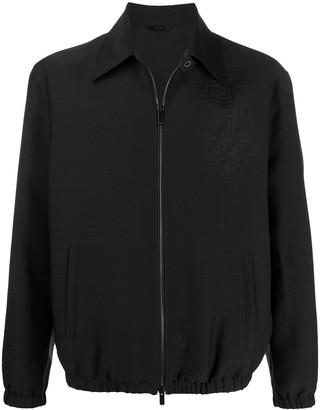 Fendi Fade Effect Monogram Zip-Up Jacket