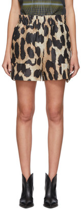 Ganni Brown and Beige Silk Linen Leopard Shorts