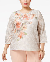 Alfred Dunner Plus Size Just Peachy Collection Embellished Floral-Print Top