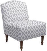 Skyline Furniture Camel Back Chair in Ikat Fret Pewter