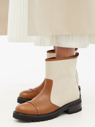 Malone Souliers Bibi Canvas And Leather Ankle Boots - Tan Multi