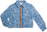 Design History Girls Girl's Rainbow Tape Zip-Front Denim Jacket, Size S-XL