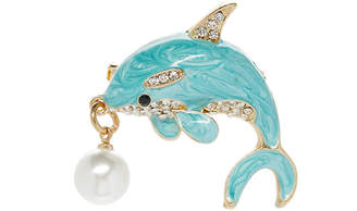 Bubbly Bows Women's Brooches and Pins - Blue Imitation Pearl & Goldtone Dolphin Brooch