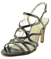 Anne Klein Insists Women Open-toe Leather Gray Slingback Sandal.