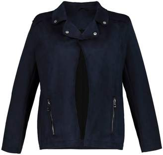 Ulla Popken Zip-Up Boyfriend Jacket with Pockets