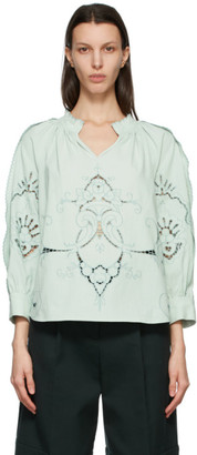 See by Chloe Blue Embroidered V-Neck Blouse