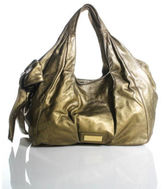 Valentino Gold Metallic Leather Double Handle Hobo Bow Handbag