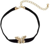 """Kenneth Jay Lane 12"""" Black Velvet Choker with Gold and Crystal Butterfly Front and 4"""" Extender Chain Necklace"""