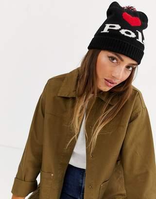 Polo Ralph Lauren I heart polo logo beanie-Black
