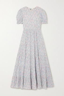 TVF Fern Tiered Floral-print Crepe De Chine Maxi Dress - Mint
