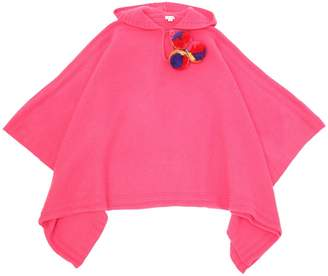 Il Gufo Hooded Wool Knit Poncho W/ Pompoms