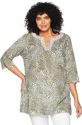 Foxcroft Women's Plus Size Toni Safari Wrinkle Free Tunic
