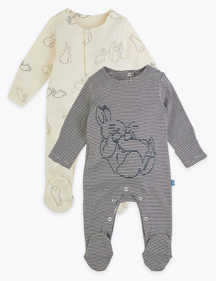 Marks and Spencer 2 Pack Peter Rabbit Sleepsuits (7lbs-3 Yrs)