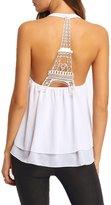 KingField Exclusive Custom Eiffel Tower Women Shirt Lace Halter Chiffon Ladies' Vest