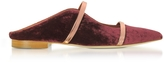 Malone Souliers Plum Velvet and Rose Gold Nappa Leather Maureen Flat Slides