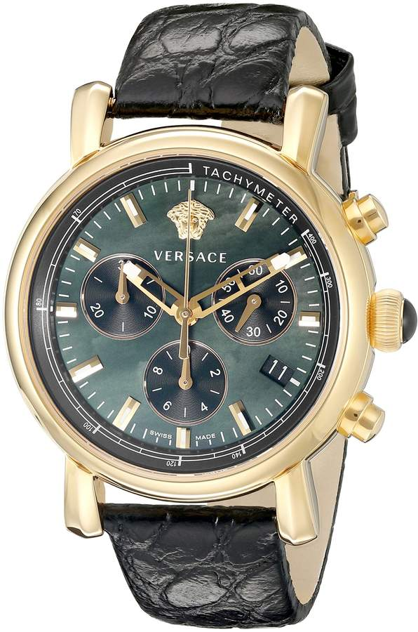Versace Women's VLB050014 Day Glam Stainless Steel Watch with Black Leather Band