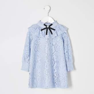 River Island Mini girls Blue lace bow collar frill dress