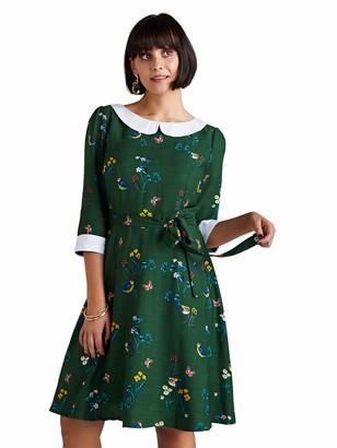 Yumi Women's Bird Print Peter Pan Collar Skater Dress