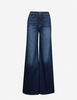 Frame Summer Ladies Blue Cotton Le Palazzo Wide-Leg Faded High-Rise Stretch-Denim Jeans, Size: 23