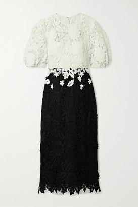 Lela Rose Two-tone Guipure Lace Midi Dress - Black