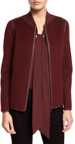 Lafayette 148 New York Keaton Collarless Leather-Trimmed Jacket, Claret/Carnelian