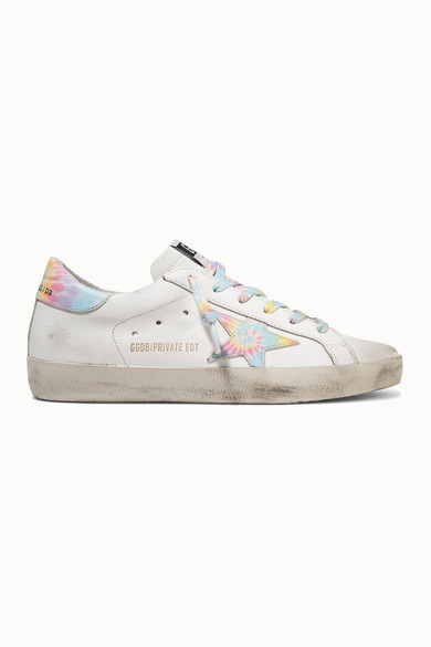 Golden Goose Superstar Distressed Tie-dyed Leather Sneakers - White