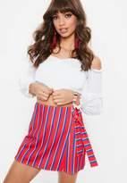 Missguided Red Stripe Print Tie Wrap Skort