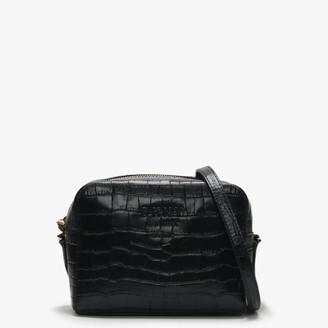 DKNY Noho Black Leather Moc Croc Camera Bag