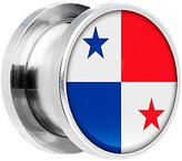 Body Candy Stainless Steel Panama Flag Screw Fit Double Flare Plug Pair 9/16""