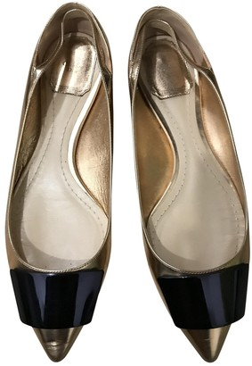 Christian Dior Gold Patent leather Flats