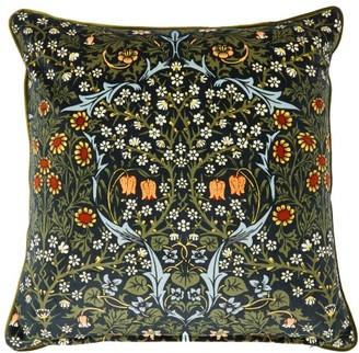 House Of Hackney - Blackthorn Floral-print Cotton-velvet Cushion - Green Print
