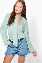 Boohoo Poppy Pussy Bow Plunge Blouse