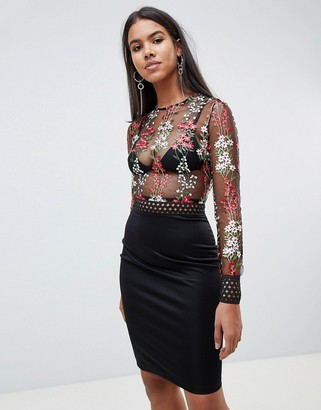 Rare London floral embroidered mesh midi dress