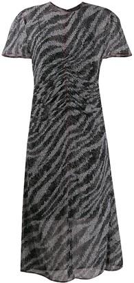 Rag & Bone zebra print ruched midi dress