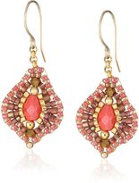 Miguel Ases Small Raspberry Quartz Lotus Drop Earrings