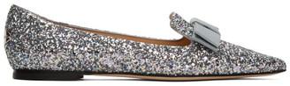 Jimmy Choo Silver Blast Coarse Glitter Gala Flats